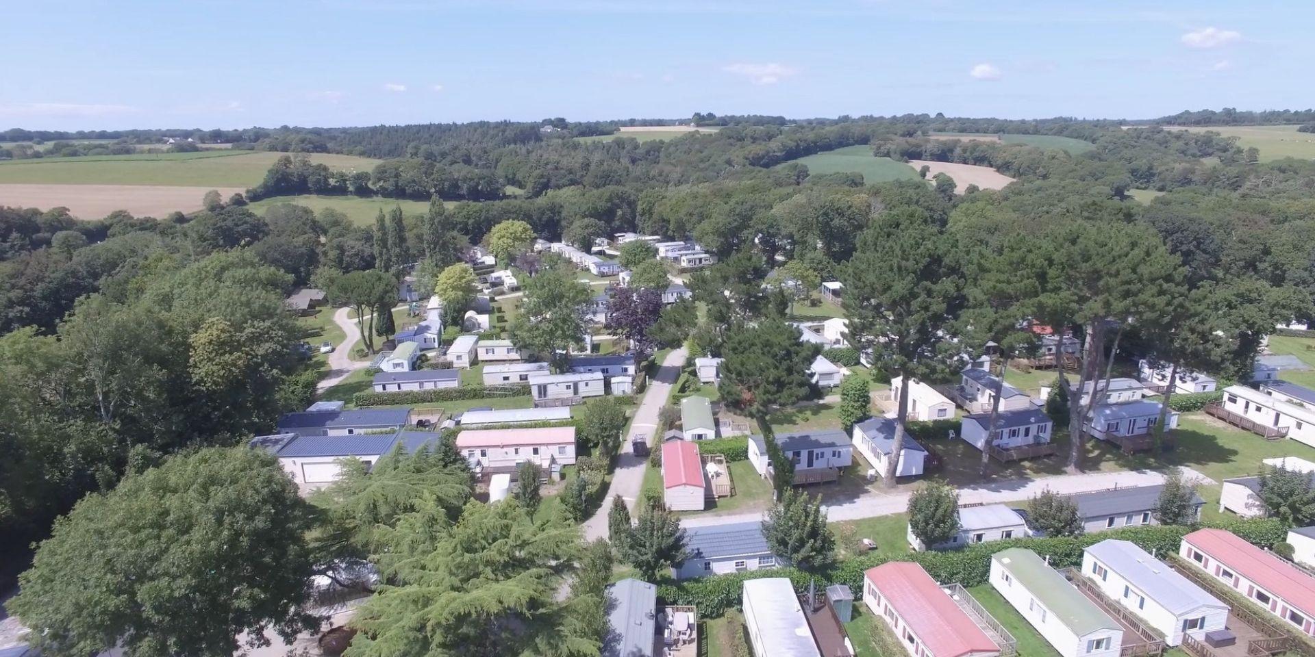 Vue aérienne du camping à Clohars Carnoet